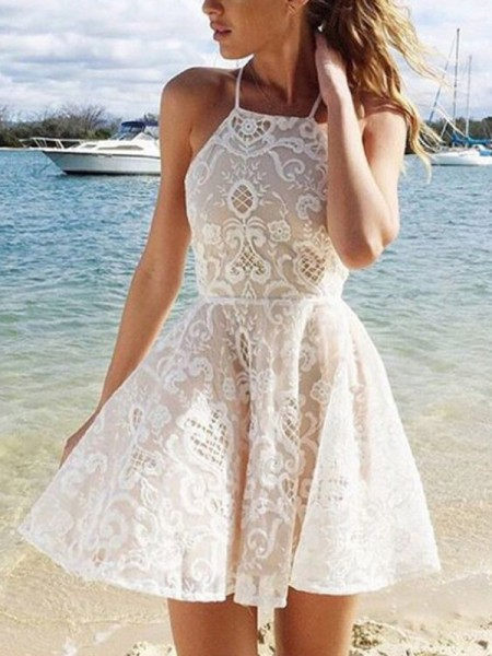 A-Line/Princess Sleeveless Halter Spandax Short/Mini Dresses with Lace