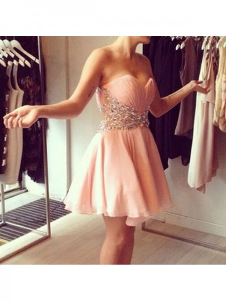 A-Line/Princess Sleeveless Sweetheart Chiffon Short/Mini Dresses with Beading