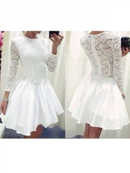 A-Line/Princess Long Sleeves Scoop Chiffon Short/Mini Dresses with Lace