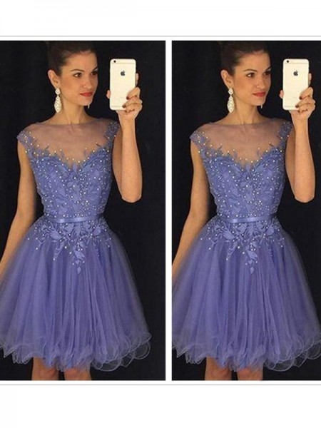 A-Line/Princess Sleeveless Scoop Tulle Short/Mini Dresses with Applique