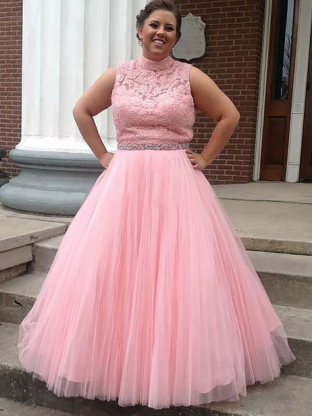 Ball Gown High Neck Tulle Floor-Length Plus Size Dress with Applique