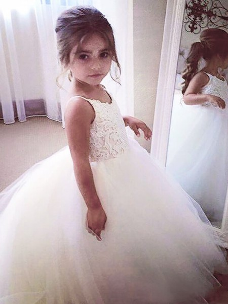Ball Gown Jewel Floor-Length Tulle Flower Girl Dresses with Lace