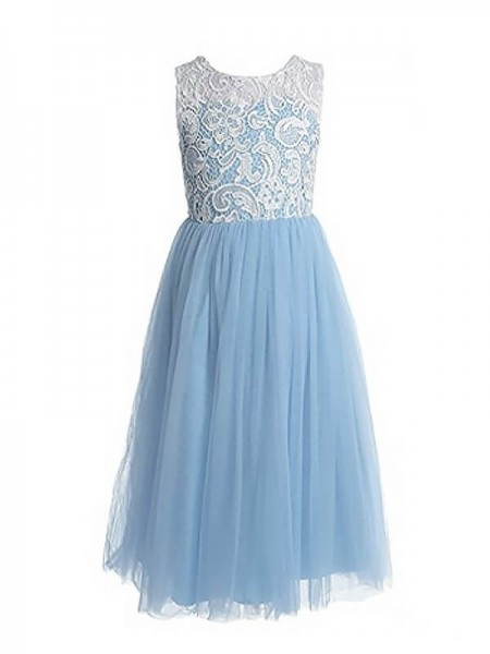 A-Line/Princess Jewel Ankle-length Tulle Flower Girl Dresses with Lace
