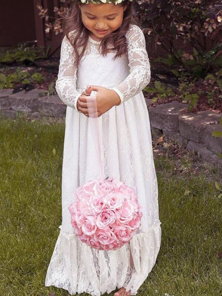 A-Line/Princess Jewel Floor-Length Flower Girl Dresses with Bowknot with Lace