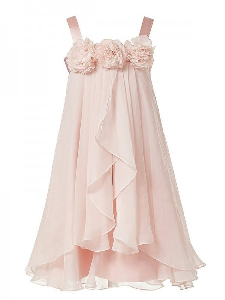 A-Line/Princess Straps Chiffon Ankle-length Flower Girl Dresses with Hand-Made Flower