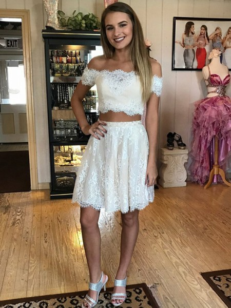 A-Line Off-the-Shoulder Sleeveless Short Lace Two Piece Dress