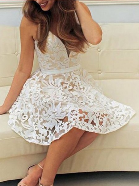 A-Line V-neck Sleeveless Short Lace Dress