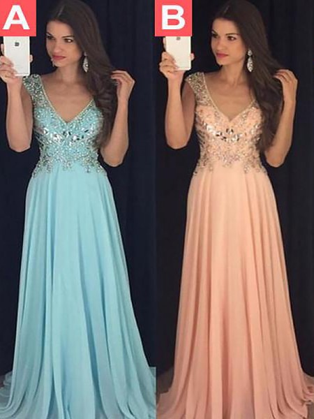 A-Line/Princess V-neck Chiffon Paillette Floor-Length Dresses