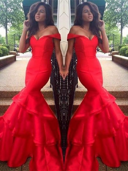 Trumpet/Mermaid Off-the-Shoulder Taffeta Layers Sweep/Brush Train Dresses