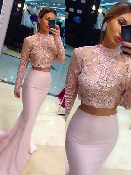 Sheath/Column Lace Sweep/Brush Train High Neck Satin Two Piece Dresses