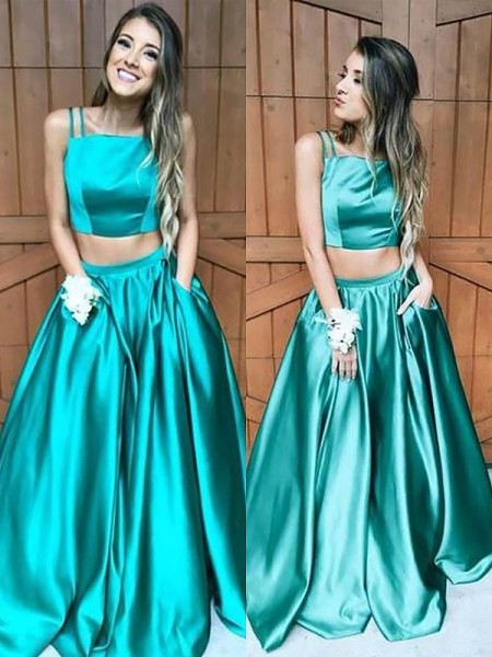 A-Line/Princess Square Floor-Length Satin Two Piece Dresses with Ruffles
