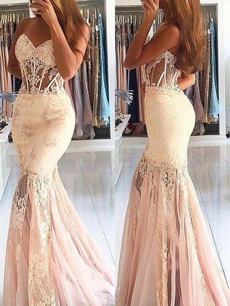 Trumpet/Mermaid Sweetheart Tulle Lace Sweep/Brush Train Dresses