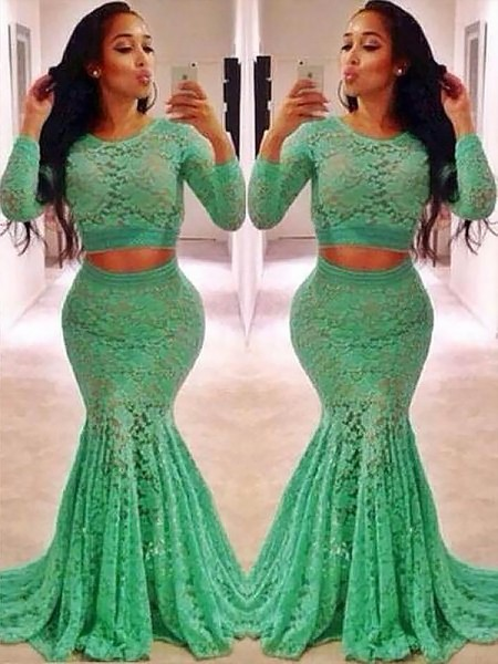 Trumpet/Mermaid Scoop Lace Sweep/Brush Train Two Piece Dresses with Ruffles