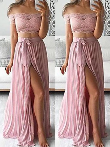 A-Line/Princess Off-the-Shoulder Chiffon Floor-Length Lace Two Piece Dresses