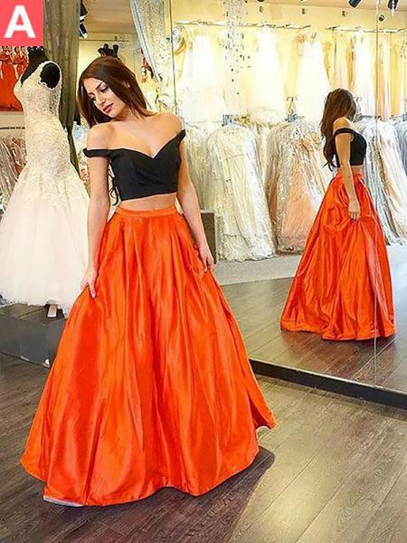 A-Line/Princess Off-the-Shoulder Taffeta Floor-Length Two Piece Dresses with Ruffles