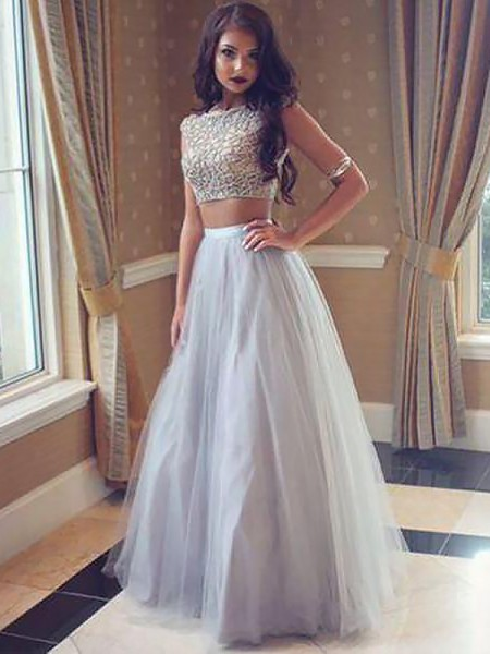 A-Line/Princess Bateau Tulle Floor-Length Two Piece Dresses with Beading