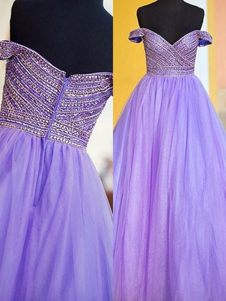 Ball Gown Off-the-Shoulder Floor-Length Tulle Dresses with Beading
