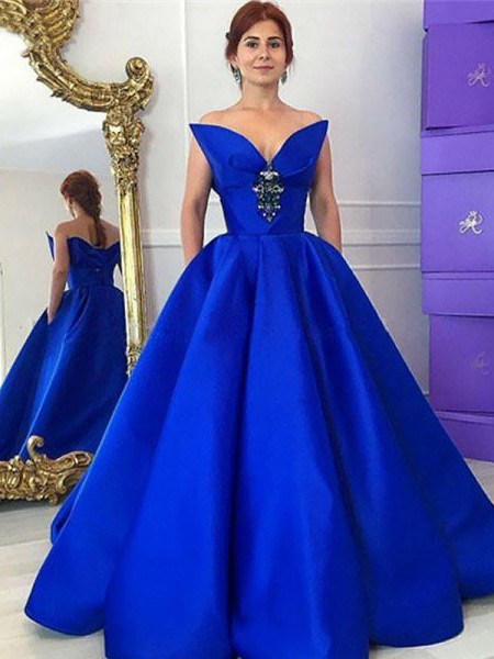 Ball Gown V-neck Floor-Length Satin Dresses with Ruffles