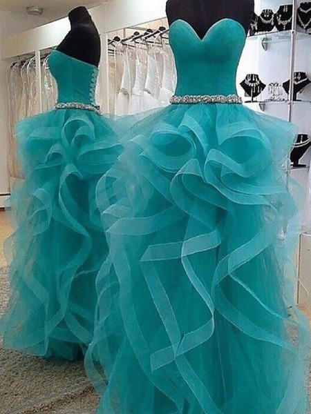 Ball Gown Sweetheart Floor-Length Tulle Dresses with Beading