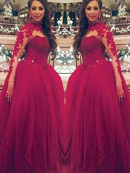 Ball Gown High Neck Floor-Length Tulle Dresses with Applique