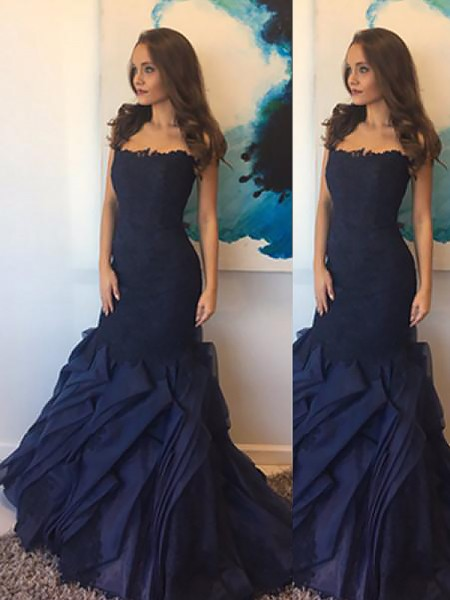 Trumpet/Mermaid Strapless Taffeta Lace Floor-Length Dresses