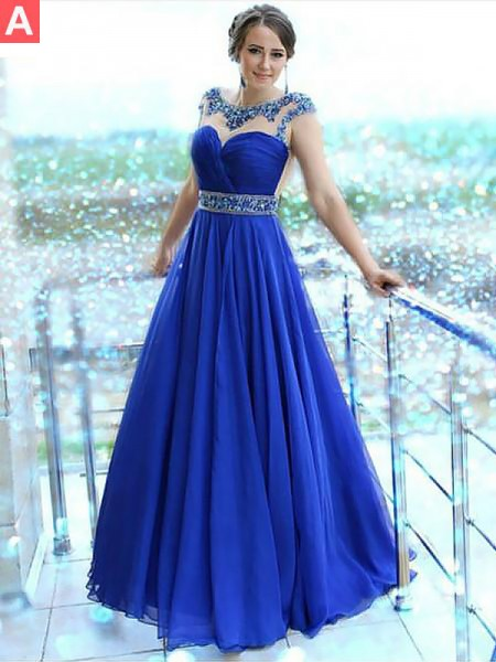 A-Line/Princess Bateau Floor-Length Chiffon Dresses with Beading