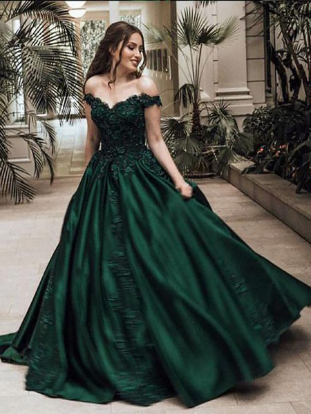 Ball Gown Off-the-Shoulder Floor-Length Lace Satin Dresses