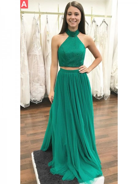 A-Line/Princess Halter Floor-Length Tulle Two Piece Dresses with Beading
