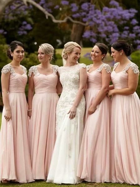 A-Line/Princess Short Sleeves Square Chiffon Floor-Length Bridesmaid Dress with Beading