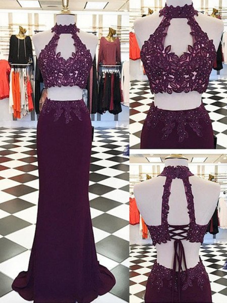 Sheath/Column Halter Floor-Length Sleeveless Chiffon Two Piece Dresses with Applique