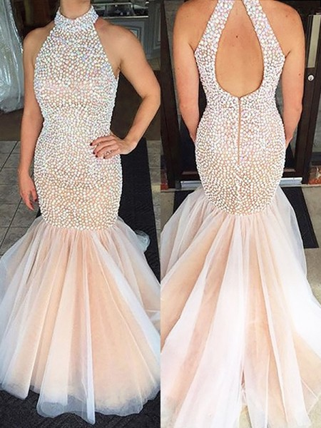 Trumpet/Mermaid Halter Tulle Sweep/Brush Train Dresses with Beading