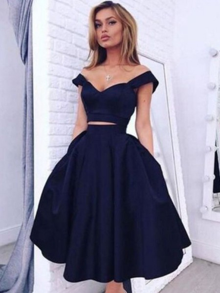 Fashion A-Line/Princess Sleeveless Tea-Length Off-the-Shoulder Satin Two Piece Dresses