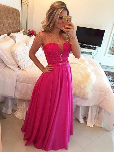 A-Line/Princess Scoop Short Sleeves Floor-Length Chiffon Dresses with Beading