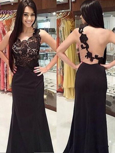 Sheath/Column Scoop Sleeveless Lace Floor-Length Chiffon Dresses