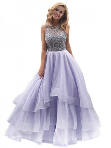 Ball Gown Scoop Sleeveless Floor-Length Organza Dresses with Beading
