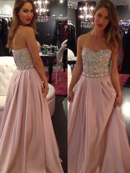 A-Line/Princess Sleeveless Sweetheart Floor-Length Chiffon Dresses with Beading
