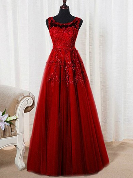 A-Line/Princess Sleeveless Scoop Floor-Length Tulle Dresses with Beading