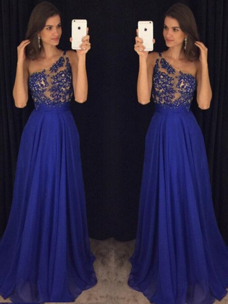 A-Line/Princess Sleeveless One-Shoulder Floor-Length Chiffon Dresses with Beading