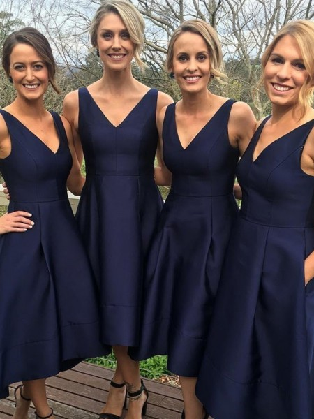 A-Line/Princess V-neck Tea-Length Satin Bridesmaid Dresses