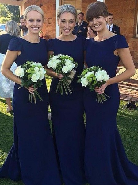 Sheath/Column Scoop Floor-Length Satin Bridesmaid Dresses