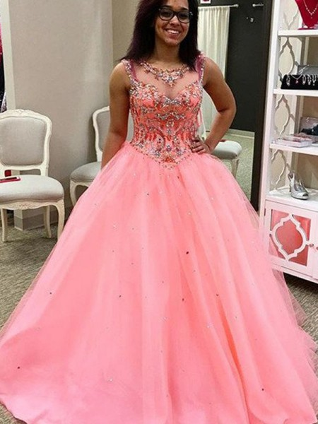 Ball Gown Sweetheart Sleeveless Tulle Floor-Length Dresses with Beading