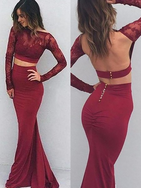 Trumpet/Mermaid Bateau Spandex Floor-Length Dress