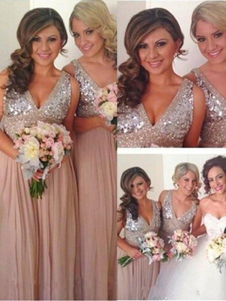 A-Line/Princess V-neck Floor-Length Sequin Chiffon Bridesmaid Dress