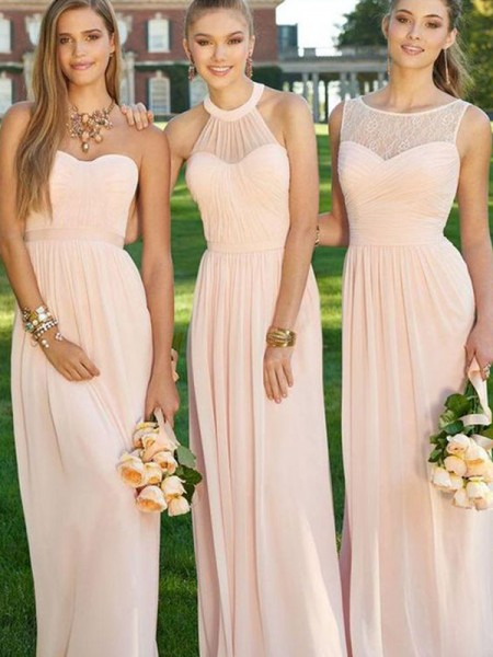 A-Line/Princess Floor-Length Chiffon Bridesmaid Dress with Ruched