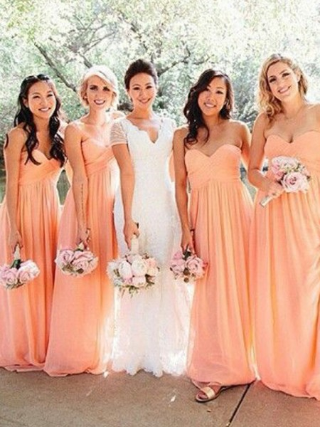 A-Line/Princess Sweetheart Floor-Length Chiffon Bridesmaid Dress with Ruched