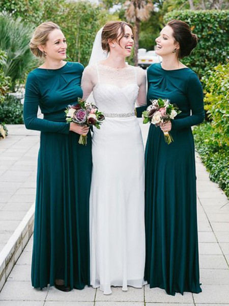 A-Line/Princess Scoop Floor-Length Jersey Bridesmaid Dress
