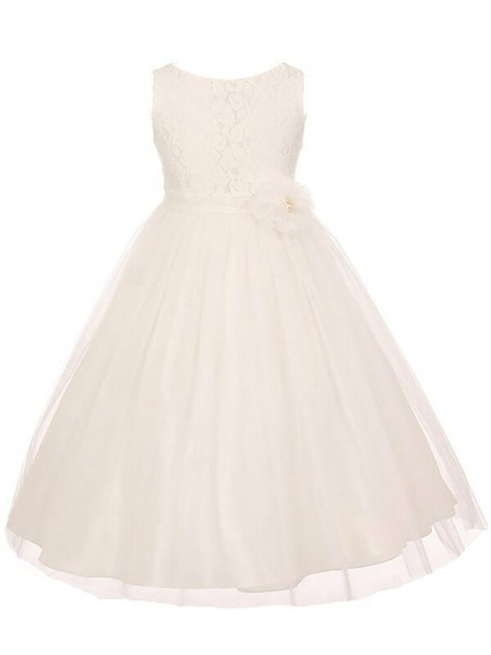 A-line/Princess Scoop Tulle Ankle-length Flower Girl Dresses with Sash/Ribbon/Belt
