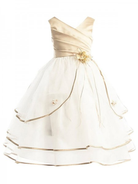 A-line/Princess V-neck Tulle Ankle-length Flower Girl Dresses
