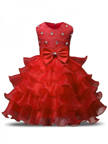 Ball Gown Scoop Tea-length Organza Flower Girl Dresses with Ruffles