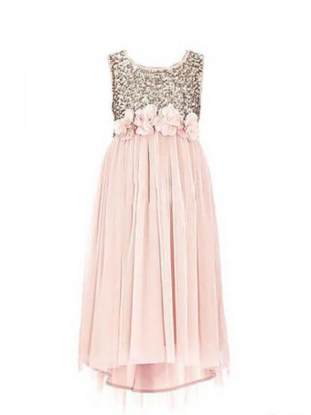 A-line/Princess Scoop Sequin Chiffon Floor-Length Flower Girl Dresses